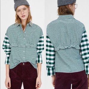 Zara Gingham Plaid Ruffle Front button down shirt